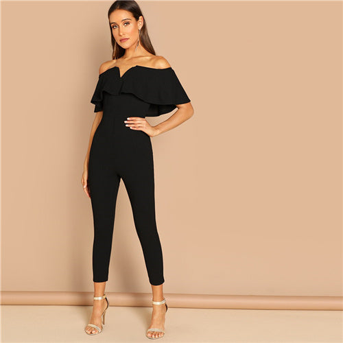 SHEIN Black Office Lady Solid Off Shoulder Short Sleeve Ruffle Skinny Jumpsuit Autumn Workwear Going Out Women Jumpsuits
