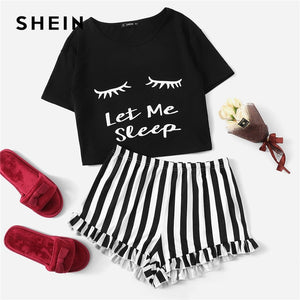 SHEIN Black Graphic Tee Frilled Striped Shorts PJ Round Neck Short Sleeve Set Summer Women Patchwork Sleepwear