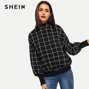 SHEIN Black Minimalist MockNeck Grid Plaid Stand Collar Pullover Sweatshirt Autumn Preppy Campus Casual Women Sweatshirts