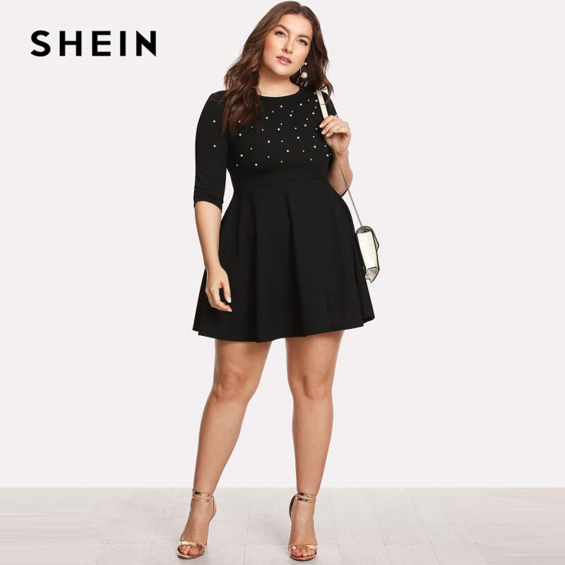 SHEIN Black Round Neck Spring Dress Plus Size Women Pearl Beading Fit Flare Large Sizes Casual Long Sleeve Dress