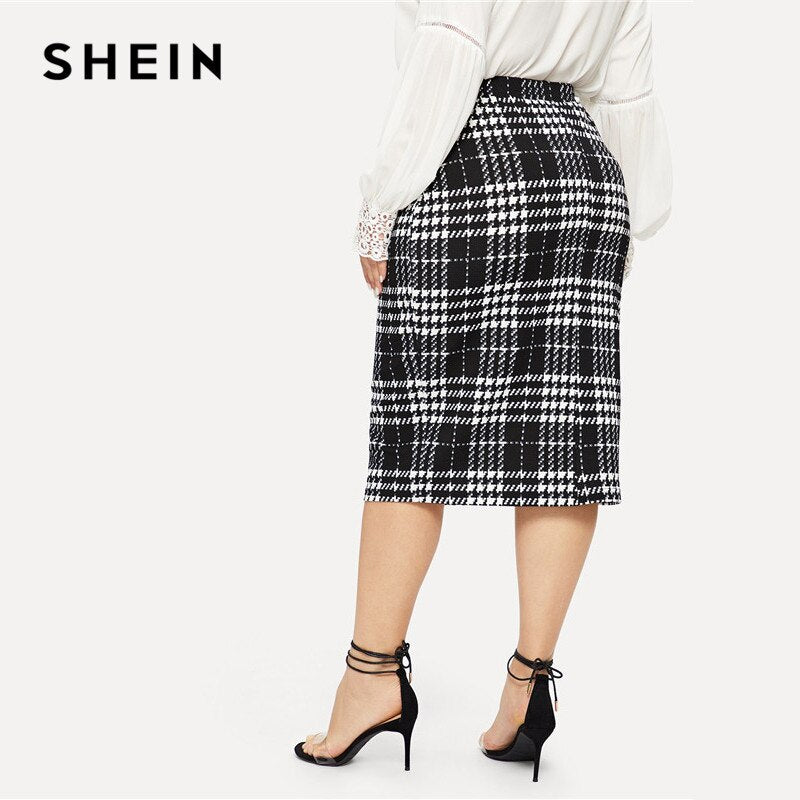 SHEIN Black Solid Women Plus Size Pencil Skirt Spring Autumn Office Lady Workwear Stretchy Bodycon KneeLength Skirts