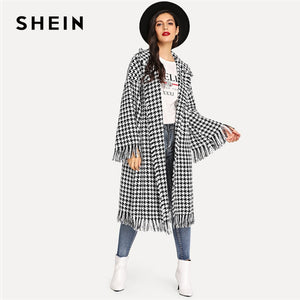 SHEIN Black White Houndstooth Shawl Collar Bell Sleeve Fringe Detail Houndstooth Coat Autumn Highstreet Women Coat Outerwear