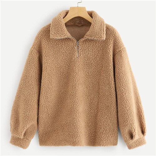 SHEIN Brown Modern Lady Zip Front Teddy Half Placket Collar Plain Sweatshirt Autumn Casual Women Sweatshirts