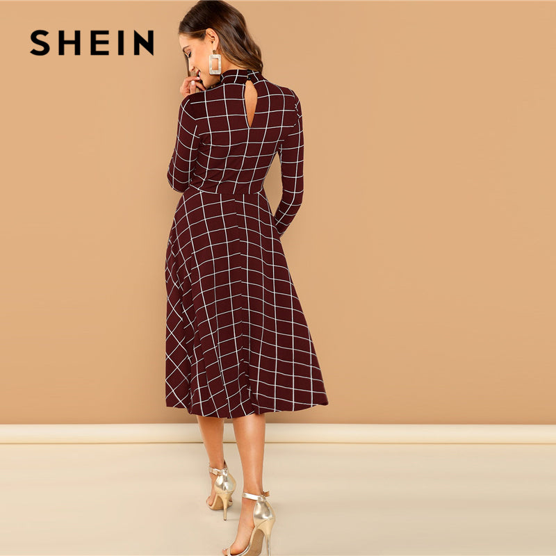 SHEIN Burgundy Office Lady Plaid Print High Neck Fit Flare Long Sleeve Dress Autumn Workwear Fashion Women Dresses