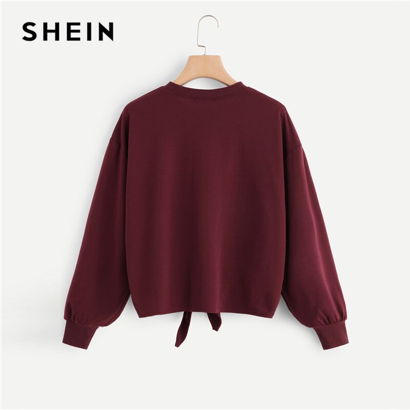 SHEIN Burgundy Knot Front Letter Print Drop Shoulder Sweatshirt Pullover Women Autumn Long Sleeve ONeck Casual Sweatshirts