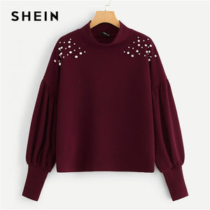 SHEIN Burgundy Mock Neck Pearl Embellished Drop Shoulder Sweatshirt Long Sleeve Pullover Women Autumn Minimalist Sweatshirts