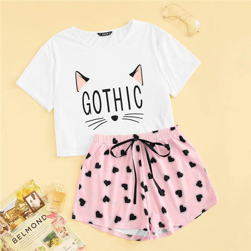 SHEIN Cat Print Tshirt Heart Elastic Waist Shorts Casual Sleepwear Women Summer Cute Round Neck Short Sleeve Pajama Set
