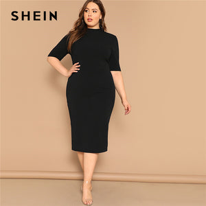 SHEIN Classy Black Plus Size Mockneck Solid Pencil Slim Dress Women Spring Office Lady Bodycon Basics Plus Size Long Dresses