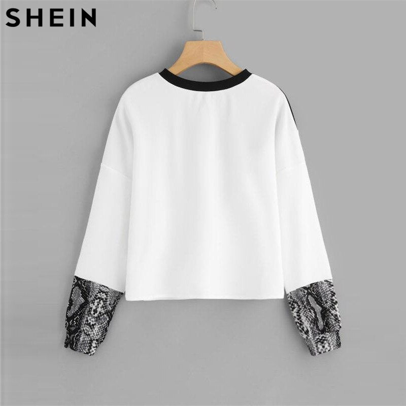 SHEIN Color Block Snake Skin Sweatshirt Preppy Round Neck Long Sleeve Pullovers Women Autumn Multicolor Sweatshirts