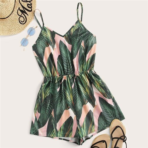 SHEIN Elastic Waist Slip Tropical Summer Rompers Jumpsuit VNeck Spaghetti Strap High Waist Playsuit Wide Leg Jumpsuit