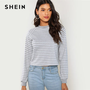 SHEIN Grey Minimalist Preppy Crop Striped Round Neck Casual Sweatshirt Autumn Women Pullovers Sweatshirts