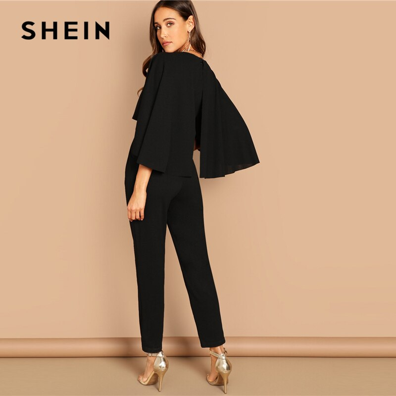 SHEIN Modern Lady Going Out Party Black VNeck Solid Cape Long Sleeve Cloak Sleeve Jumpsuit Winter Women Jumpsuits