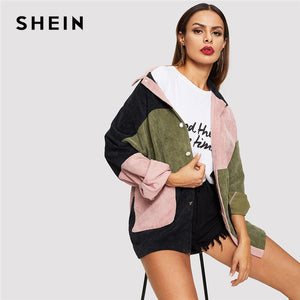 SHEIN Multicolor Casual Colorblock Cut Sew Single Breasted Pocket Front Corduroy Jacket Autumn Leisure Women Coat Outerwear