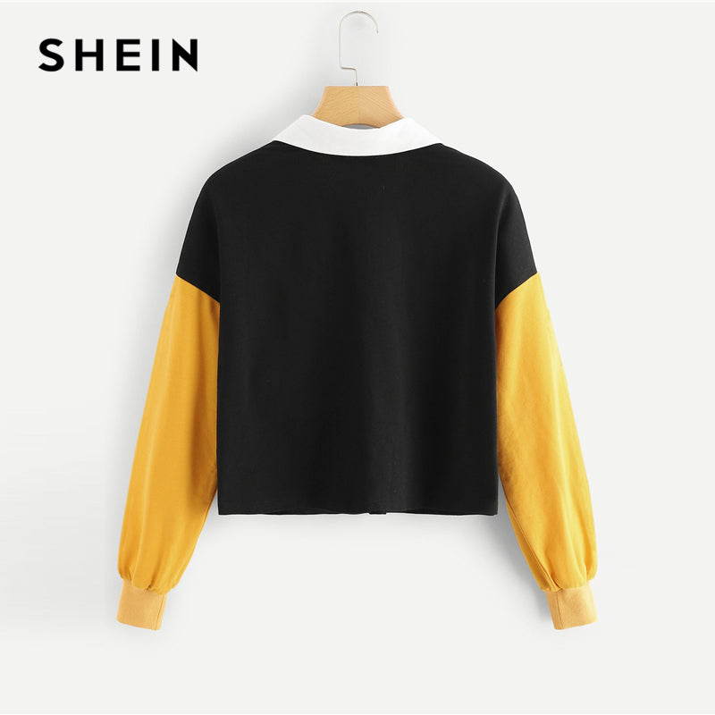 SHEIN Multicolor Casual Colorblock ORing Zip Half Placket Colorblock Sweatshirt Autumn Minimalist Fashion Women Sweatshirts
