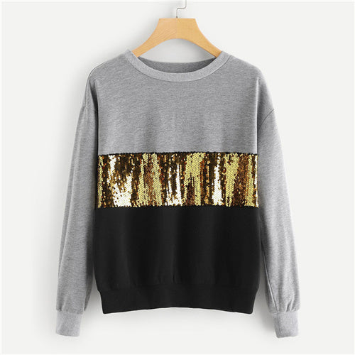 SHEIN Multicolor Contrast Cut Sew Sequin Sweatshirt Casual Colorblock Long Sleeve Pullovers Women Autumn Sweatshirts