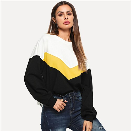 SHEIN Multicolor Cut Sew Color Block Pullover Casual Long Sleeve Round Neck Sweatshirts Women Autumn Minimalist Sweatshirt