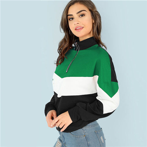 SHEIN Multicolor Casual ORing Zip Front Cut Sew Colorblock Stand Collar Sweatshirt Autumn Women Sweatshirts