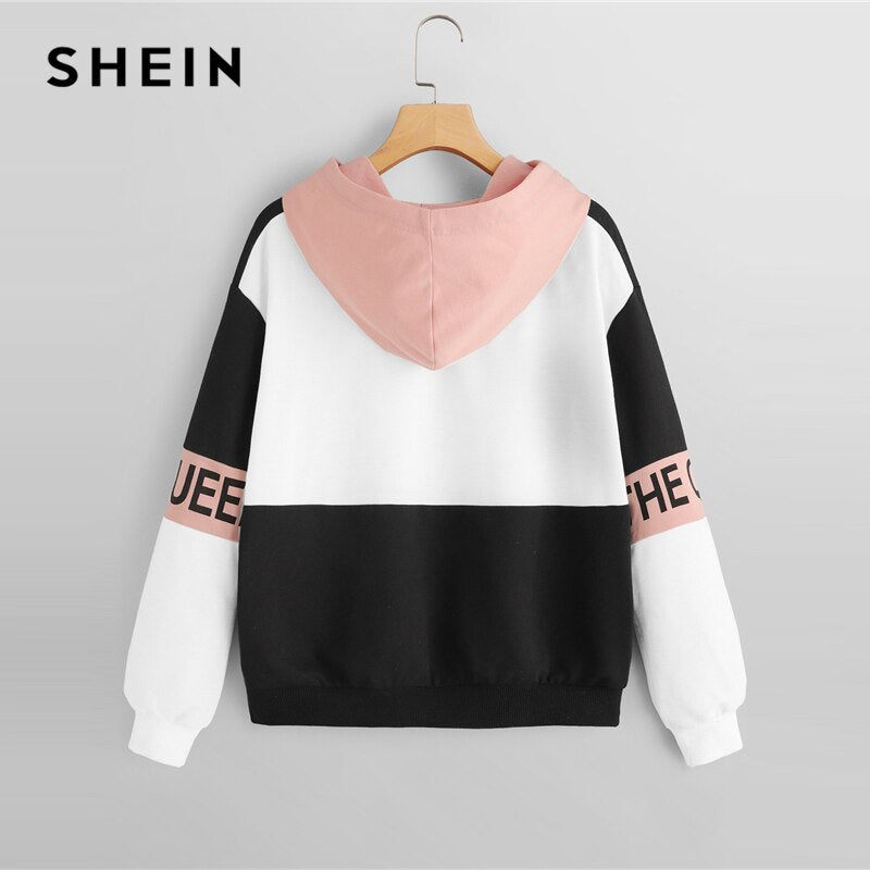 SHEIN Multicolor Color Block Letter Print Pullovers Hooded Sweatshirt Autumn Minimalist Women Sweatshirts