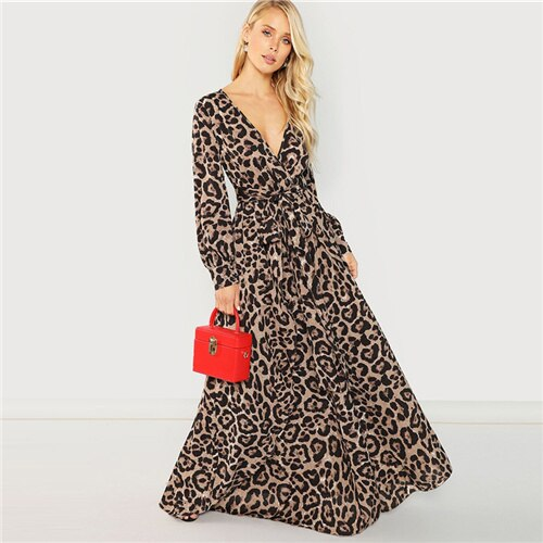 SHEIN Multicolor Party Sexy Surplice Neck Leopard Print Overlap Long Sleeve Dress Autumn Streetwear Women Maxi Dresses