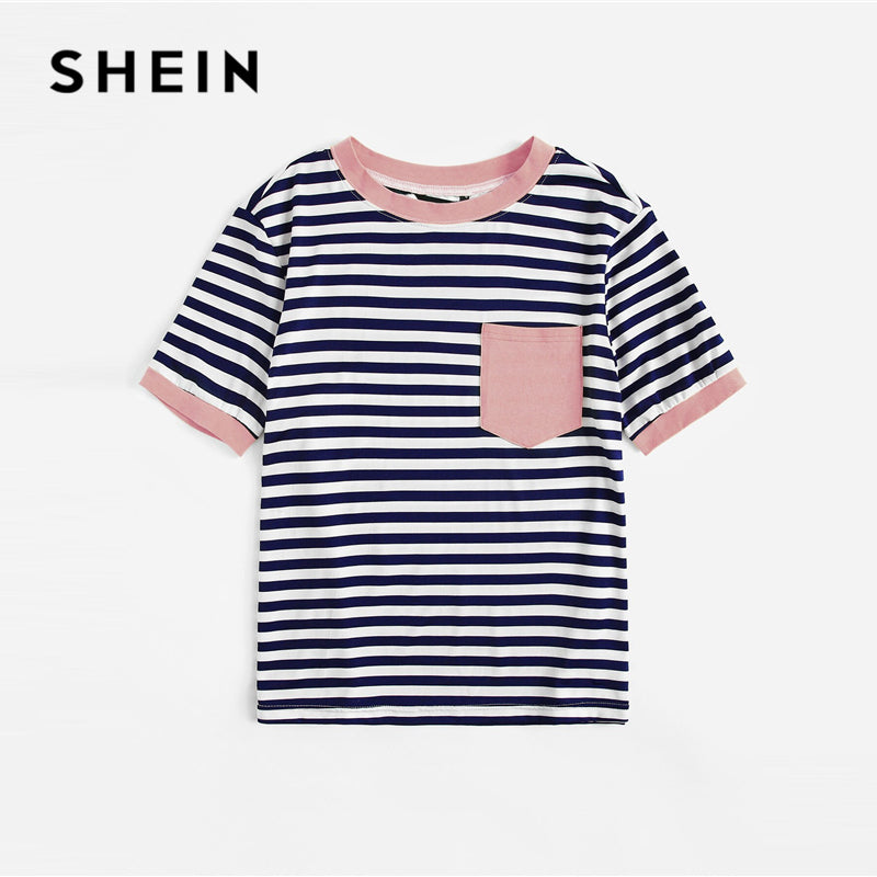 SHEIN Plus Size Patch Pocket Striped Ringer Top Tee Women Summer Preppy Round Neck Striped Contrast Binding Stretchy Tshirt