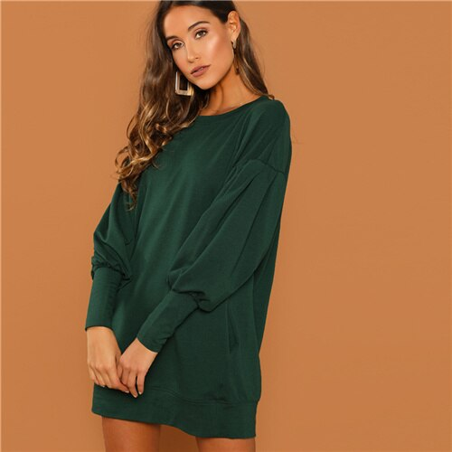 SHEIN Preppy Casual Drop Shoulder Solid Sweatshirt Round Neck Bishop Sleeve Longline Dress Autumn Fashion Women Dresses