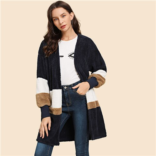 SHEIN Streetwear Multicolor Open Front Color Block Teddy Long Sleeve Coat Winter Modern Lady Women Coat Outerwear