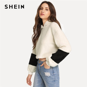 SHEIN White Preppy Crop Teddy Colorblock Hoodie Sweatshirt Autumn Campus Casual Women Pullovers Sweatshirts