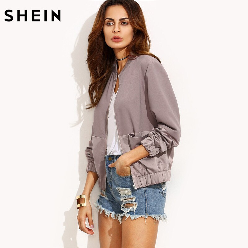 SHEIN Autumn Casual Jackets Ladies Color Block Pocket Zipper Front Stand Collar Long Sleeve Basic Jacket Coat Outwear