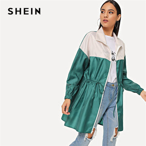 SHEIN Zipper Up Drawstring Color Block Rain Coat Long Jacket Women Autumn Long Sleeve Satin Casual Streetwear Outerwear Coats
