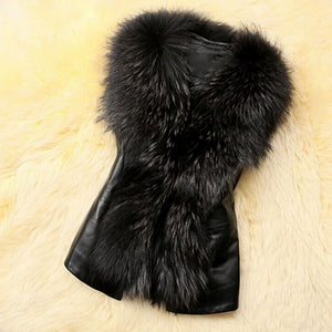 Stylish Ladies Women Faux Fur Synthetic Leather Slim Solid Warm Vest Waistcoat
