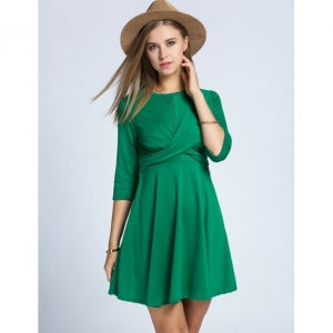 Women's 3/4 Sleeve Draped Cross Front Casual Pleated Mini Dress