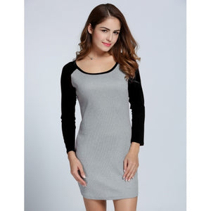 Women Long Sleeve Pencil Dress Package Hip Patchwork Knitting Casual Mini Dress