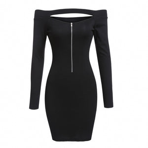 Women Knitted Off Shoulder Long Sleeve Half Zip Bodycon Pencil Mini Dress