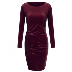 Women Casual Lint O-Neck Long Sleeve Solid Pleated Dress
