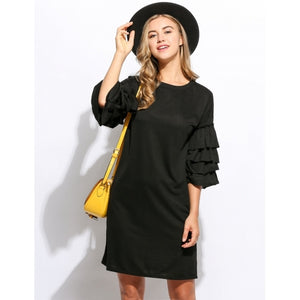 Women Causal Loose Fit 3/4 Ruffle Sleeve Straight Mini Dress