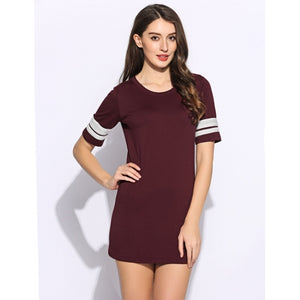 Women Short Sleeve Round Collar Casual Styles Patchwork Dress