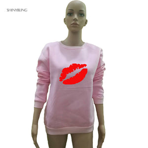 Shinybling Big Lips Print Pullovers    Harajuku Sweatshirt Long Sleeve Casual Hoodie Jumper Tops  Loose