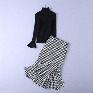 Skirt Suit 2018 Autumn Winter Fashion Black Turtleneck Knitted Sweater + Vintage Plaid Mermaid Skirt Two Piece Set Women Outfits