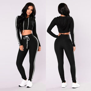 Two Piece Set Tracksuit Outfits 2018 Autumn Women Sport Suits Woman 2 Piece Pants Sets Women Striped Hoodies Sweatshirt Crop Top