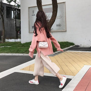 Vrouwen 2 Summer Outfits For Women Autumn Hiver Winter Korean Tops Sweater And Wide Leg Pants Trousers Two Pieces Set