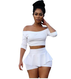 White Two Piece Set Women Suit Crop Top and Shorts Set Slash Neck Pleated Skort Casual Party Club Sexy 2 Piece Outfits DW585