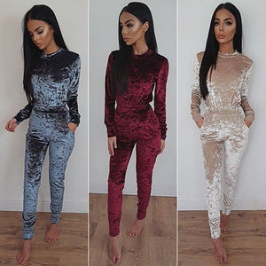 Women Autumn Fashion Long Sleeve Pullover Top   Elastic Waist Pants Two Piece Sets Casual Outfit Velvet Suits