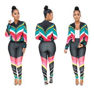 Women Tracksuit Casual Two Piece Set Zipper Printed Jacket And Pants Set Fall Outfits Ladies Fashion Sweat Suits