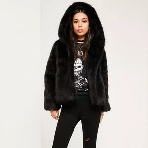 Hooded Faux Fur Coats Jackets Thicken Warm Outerwear Overcoat  Fluffy Fox Fur Jackets 10  Plus  XXXL