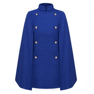 Finejo Women Wool Blend Stand Collar Double-breasted Solid Cape Cloak Coat
