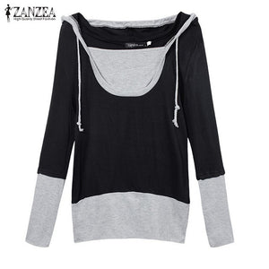 Plus Size Women Hoodies Sweatshirt 2018 Autumn Pullover Jumper Hoody Long Sleeve Fake 2 Pieces Patchwork Loose Long Tops