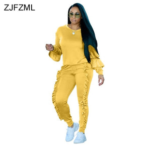 ZJFZML 8 Colors Autumn Two Piece Set Women Long Sleeve O-Neck Pullover Top + Casual Drawstring Ruffles Party Club Pant Outfits