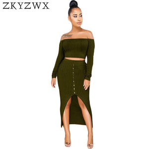 Stretch Knit Two Piece Set Women Autumn Winter Off Shoulder Long Sleeve Crop Tops+Bodycon Skirts Suits Sexy Club Outfits