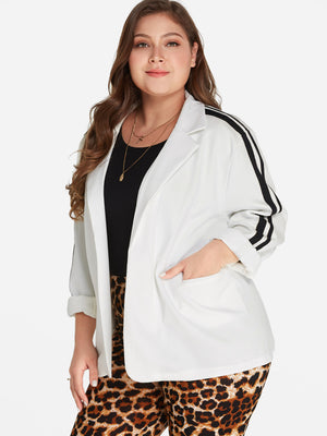 Plus Size Notch Collar Striped Side Blazer