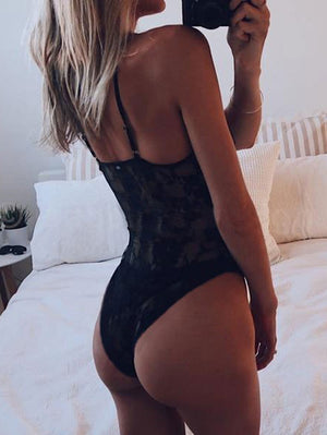 Black Lace See-through V-neck Bodysuit Backless Teddy Lingerie